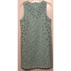 J. Crew Mint Green Laser Cut Shift Dress